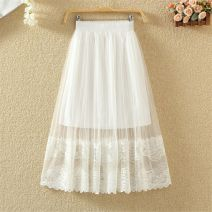 skirt Summer of 2018 M (suitable for less than 100 kg), l (suitable for 100-115 kg), XL (suitable for 115-130 kg), XXL (suitable for 130-160 kg) White, gray, black, apricot Versatile High waist Pleated skirt Solid color Type A Lace polyester fiber Fold, wave, mesh, stitching, lace