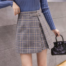 skirt Winter 2020 S M L XL 2XL Grey black Short skirt Versatile Natural waist Irregular lattice Type A 18-24 years old More than 95% Wool Cherry and lemon other Other 100% Pure e-commerce (online only)