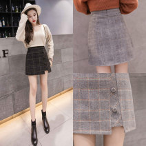 skirt Winter 2020 S M L XL 2XL Short skirt Versatile High waist A-line skirt lattice Type A 18-24 years old More than 95% Wool Cherry and lemon other zipper Other 100% Pure e-commerce (online only)