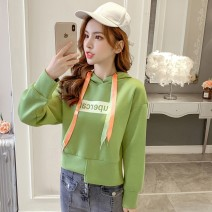 Sweater / sweater Autumn of 2019 White Avocado Green S M L XL Long sleeves have cash less than that is registered in the accounts Socket singleton  routine Hood easy commute routine letter 18-24 years old 96% and above Cherry and lemon Korean version other Printing asymmetry Other 100.00%