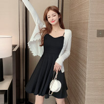 Dress Summer 2020 One piece suspender skirt suit [cardigan + suspender skirt] S M L XL Short skirt singleton  Sleeveless commute V-neck middle-waisted Solid color Socket A-line skirt routine camisole 25-29 years old Type A Wish you a beautiful woman Korean version Splicing More than 95% other