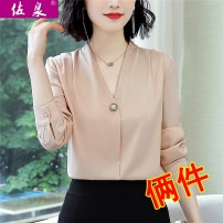 shirt Autumn of 2019 polyester fiber 96% and above Long sleeves commute Regular V-neck Socket shirt sleeve Solid color 35-39 years old Straight cylinder Zuoquan Korean version Splicing 100.00% polyester Pure e-commerce (online only)
