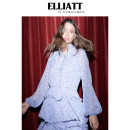 Dress Summer 2020 Lilac flowers XS S M L XL Mid length dress singleton  Long sleeves commute stand collar High waist Decor Socket Cake skirt bishop sleeve Others 25-29 years old ELLIATTCOLLECTIVE lady Lace up printing E8042029 More than 95% polyester fiber Polyester 100% Pure e-commerce (online only)