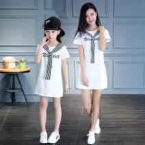 Parent child fashion White, red, black Women's dress female Yunsi dance summer fresh routine stripe skirt cotton L M XL Summer 2020 3 years old, 4 years old, 5 years old, 6 years old, 7 years old, 8 years old, 9 years old, 10 years old, 11 years old, 13 years old, 14 years old Chinese Mainland