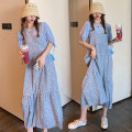 Women's large Summer 2021 blue M L XL 2XL 3XL 4XL Dress Two piece set commute easy thin Socket Short sleeve Decor Korean version other have cash less than that is registered in the accounts polyester fold routine asd655 Hinaya Bandage 81% (inclusive) - 90% (inclusive) Medium length Other 100% other