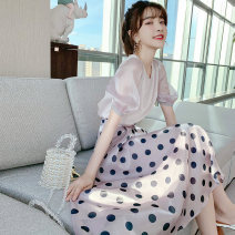 Women's large Summer 2021 Two piece set S M L XL 2XL singleton  commute thin Short sleeve Dot V-neck routine polyester fiber routine 54wesd Hinaya longuette Other 100%
