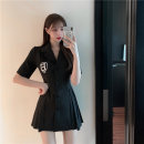 Dress Summer 2021 black S M L Short skirt singleton  Short sleeve commute tailored collar High waist Solid color Single breasted A-line skirt routine Others 18-24 years old Type A Helena Korean version Button More than 95% other other Other 100% Pure e-commerce (online only)
