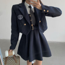 woolen coat Spring 2021 S M L Navy suit black suit other 95% and above have cash less than that is registered in the accounts Long sleeves commute double-breasted routine tailored collar Solid color High waist type Korean version Helena 18-24 years old Button Solid color polyester fiber Other 100%