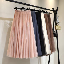 skirt Spring 2020 Average size Pink Beige meat red coffee blue black longuette High waist BX20026 Chiadian