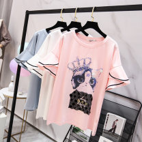 Women's large Summer 2020 Blue white pink Large XL recommendation 120-140 kg large 2XL recommendation 140-170 kg large 3XL recommendation 170-195 kg large 4XL recommendation 195-230 kg large 5XL recommendation 230-300 kg T-shirt singleton  commute easy moderate Socket Short sleeve Crew neck routine
