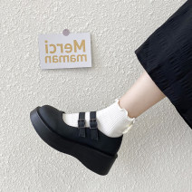Low top shoes 35 36 37 38 39 Snow shadow floating Black matte black shine black matte upgrade black shine upgrade Round head PU Muffin bottom Middle heel (3-5cm) Shallow mouth PU Summer 2021 Velcro Korean version Adhesive shoes Youth (18-40 years old) Solid color rubber Single shoes PU leisure time