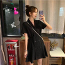 Dress Summer 2020 black S M L XL Short skirt singleton  Short sleeve commute tailored collar High waist Solid color double-breasted A-line skirt other Others 18-24 years old Yan Xiangfei Korean version Button More than 95% polyester fiber Polyester 100% Pure e-commerce (online only)