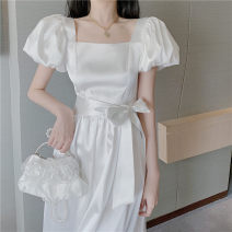 Dress Summer 2021 white S M L XL longuette singleton  Short sleeve commute square neck Solid color puff sleeve 18-24 years old Yan Xiangfei Korean version 8050-59942 More than 95% other Other 100% Pure e-commerce (online only)