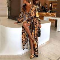 Dress Autumn of 2018 golden S,M,L,XL,2XL,3XL longuette singleton  Long sleeves street V-neck High waist Decor Socket Big swing routine Others 18-24 years old Type H printing 909# 81% (inclusive) - 90% (inclusive) knitting polyester fiber Europe and America