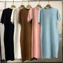 Dress Summer 2020 White, black, light blue, pink, brown S,M,L Mid length dress Short sleeve commute Crew neck middle-waisted Solid color Socket Type H Other Korean version QLTT316 knitting