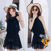 one piece  other M [80-95 Jin], l [95-105 Jin], XL [105-120 Jin] Skirt one piece With chest pad without steel support Spandex, polyester H7857117 female Sleeveless Casual swimsuit