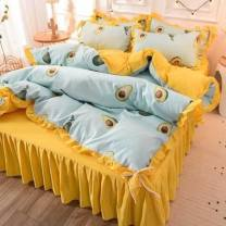 Bedding Set / four piece set / multi piece set Others other Solid color 133x72 Other / other cotton 4 pieces 40 Bed sheet, bed skirt Qualified products Princess style 100% cotton other Reactive Print  G4900289