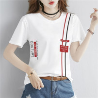 T-shirt Black white red M L XL 2XL 3XL Summer 2021 Short sleeve Crew neck easy Regular routine commute cotton 86% (inclusive) -95% (inclusive) 18-24 years old Korean version originality letter Beautiful scenery HM2551 printing Cotton 95% polyurethane elastic fiber (spandex) 5%