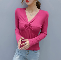 T-shirt White, black, plum, light khaki, deep coffee S,M,L Autumn 2020 Long sleeves V-neck Self cultivation Regular routine commute cotton 96% and above 18-24 years old Korean version originality Solid color Other / other fold