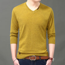 T-shirt / sweater Others Youth fashion Thin money Socket V-neck Long sleeves spring and autumn easy 2018 business affairs tide youth routine Solid color washing Fine wool (16 and 14 stitches) other Hollowing out