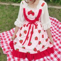 Dress Summer of 2019 Strawberry jsk skirt (single piece) cherry jsk skirt (single piece) white inside (single piece) Average size Middle-skirt singleton  Sleeveless Sweet High waist A-line skirt camisole 18-24 years old Type A Zheke bow 157190433242177_ tQA4R More than 95% other solar system