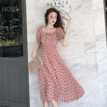 Dress Summer 2020 Pink S M L XL Middle-skirt singleton  Short sleeve commute square neck High waist Dot Socket A-line skirt puff sleeve Others 18-24 years old Type A Zhaorou Korean version 626 lf 05 More than 95% Chiffon other Other 100% Pure e-commerce (online only)