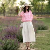 skirt Summer 2020 XS,S,M,L,XL Beige longuette commute Natural waist Flower bud skirt Solid color Type A 30-34 years old 20016-L070 30% and below Other / other hemp Pleats, pockets literature