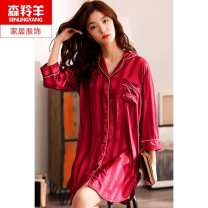 Nightdress 160(M),165(L),170(XL),175(XXL),180(XXXL) Sweet three quarter sleeve pajamas Middle-skirt summer Solid color middle age Small lapel Polyester (polyester) More than 95% silk 200g and below