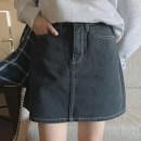 skirt Summer 2021 L,M,S Black, pink Short skirt fresh High waist A-line skirt Solid color More than 95% cotton