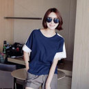 T-shirt navy blue Single size Summer 2020 Short sleeve Crew neck easy raglan sleeve commute cotton 96% and above 25-29 years old Korean version