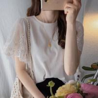 T-shirt Black, cream Average size Summer 2021 Short sleeve Crew neck Straight cylinder Regular Petal sleeve commute cotton 51% (inclusive) - 70% (inclusive) lady