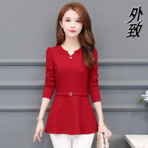 T-shirt L XL 2XL 3XL 4XL 5XL Winter 2020 Long sleeves V-neck Self cultivation Regular routine commute other 96% and above 40-49 years old classic Solid color External Other 100% Pure e-commerce (online only)