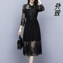 Dress Summer 2021 black M L XL 2XL 3XL Mid length dress singleton  Long sleeves commute Crew neck High waist Socket other routine 35-39 years old Type A External Korean version 9113YYQX%@#$ More than 95% other Other 100% Pure e-commerce (online only)