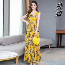 Women's large Summer 2021 Red yellow green M L XL 2XL 3XL Dress easy moderate Short sleeve Crew neck Three dimensional cutting External 35-39 years old Medium length Other 100% Pure e-commerce (online only)