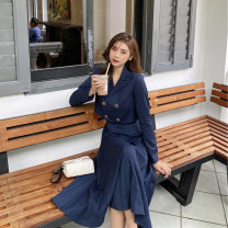 Women's large Autumn 2020 Blue top + blue skirt S M L XL Dress Two piece set commute Self cultivation Socket Long sleeves Solid color Retro V-neck Medium length routine LJMC8N3937 Luo Jingmei 18-24 years old longuette New polyester 70% other 30% Pure e-commerce (online only) Pleated skirt