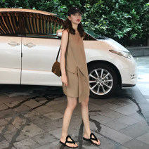 Women's large Summer 2020 S M L XL Dress singleton  commute thin Socket Sleeveless Solid color Crew neck polyester fiber routine Luo Jingmei 25-29 years old Short skirt Polyester 70% other 30% Exclusive payment of tmall Princess Dress