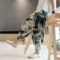 Casual pants Others Youth fashion 5 safflower, pure black, pure gray, lotus, blue flower, dragon, dragonfly, fan, crane, white t M,L,XL,2XL,3XL,4XL,5XL thin Cropped Trousers Other leisure easy No bullet summer youth tide 2019 middle-waisted Little feet Haren pants Color contrast No iron treatment