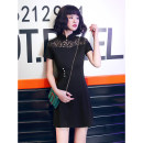 cheongsam Summer 2021 S M L XL XXL Black lace shoulder Short sleeve Short cheongsam Retro Low slit daily Oblique lapel Solid color 18-25 years old Embroidery YQK0415 Yu Qingke other Other 100% Pure e-commerce (online only)