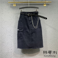 skirt Autumn 2020 S M L XL black Mid length dress Versatile High waist A-line skirt Solid color Type A H20-0914-01 More than 95% Denim Handily other Chain pocket makes old button zipper Other 100% Pure e-commerce (online only)