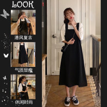 Women's large Summer 2020 Other oversize styles Two piece set commute easy moderate Socket Short sleeve Solid color Korean version Crew neck routine Three dimensional cutting routine Sherman love 18-24 years old Three dimensional decoration Medium length Other 100% Pure e-commerce (online only)