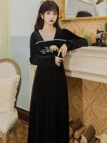 Dress Autumn 2020 black S,M,L Mid length dress singleton  Long sleeves commute square neck High waist Solid color Socket A-line skirt routine Type A Retro Embroidery, Auricularia auricula, stitching