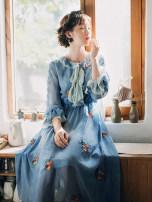 Dress Spring 2021 Ice blue S,M,L commute High waist Retro Chiffon