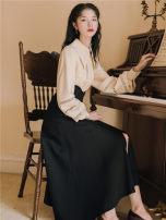 Fashion suit Autumn 2021 S,M,L,XL Apricot shirt + black skirt