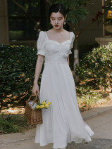 Dress Summer 2021 white S,M,L Mid length dress singleton  Short sleeve commute square neck High waist Solid color puff sleeve Type A Retro Button