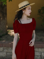 Dress Summer 2021 Black, red, white S,M,L,XL Mid length dress singleton  Short sleeve commute square neck High waist Solid color A-line skirt puff sleeve Retro