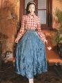 Fashion suit Spring 2021 S,M,L Single Plaid top, single velvet skirt, plaid Top + velvet skirt, single Plaid Dress