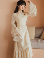 cheongsam Autumn 2021 S,M,L Apricot Retro Be open-minded Solid color