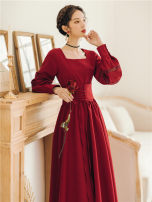 Dress Autumn 2020 S,M,L,XL Long sleeves commute square neck High waist Solid color Socket Big swing bishop sleeve Type A court Gouhua hollow brocade