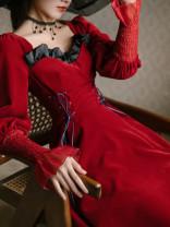 Dress Spring 2021 claret S,M,L longuette singleton  Long sleeves commute High waist Solid color Type A Retro