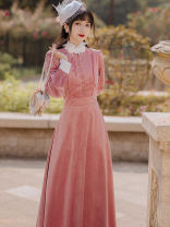 Dress Autumn 2020 Pink S,M,L,XL longuette singleton  Long sleeves Sweet stand collar High waist Solid color zipper A-line skirt Type A Button Mori